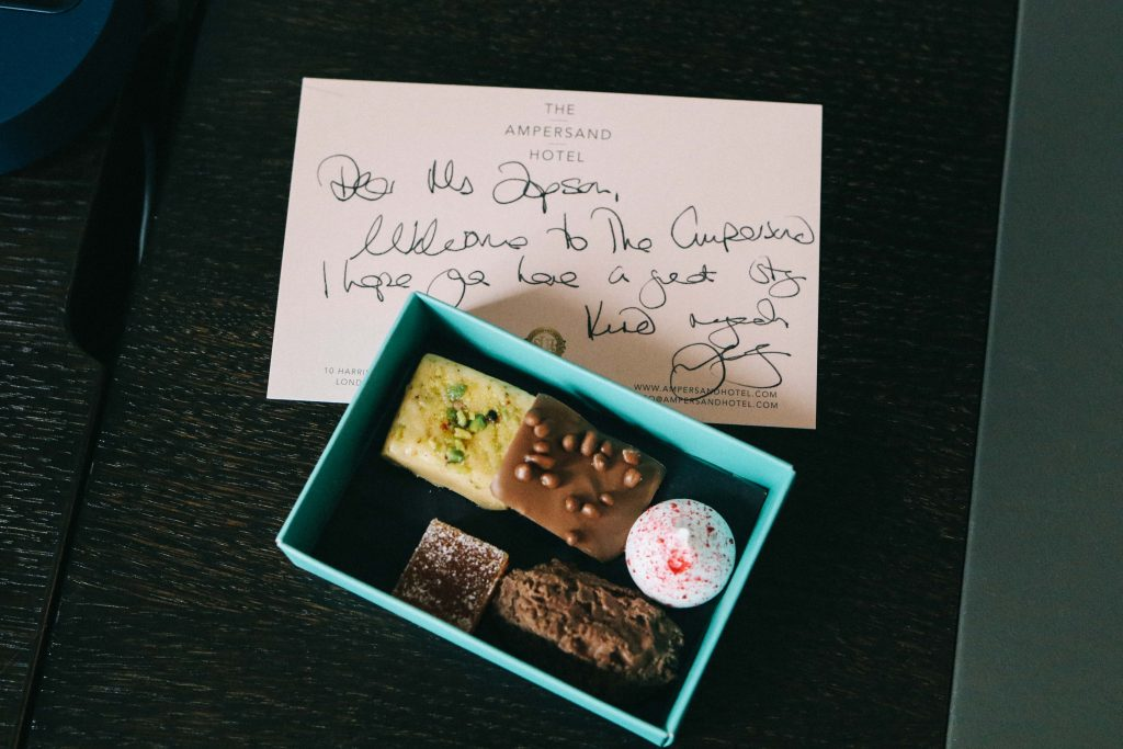 A note and chocolates left by the team at the Ampersand Hotel, London