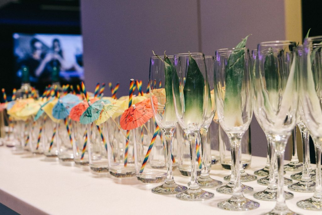 Cocktails glasses at the Twins That Travel Sandals Blogging Event
