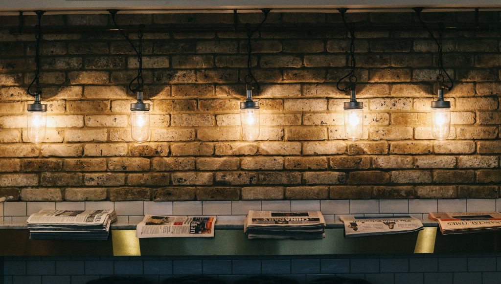 Overhead lighting in the dining room at the Ampersand Hotel, London