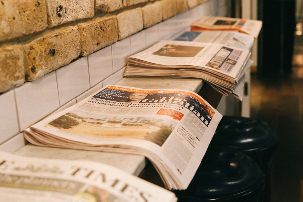 A row of newspapers on a table at The Ampersand Hotel, London