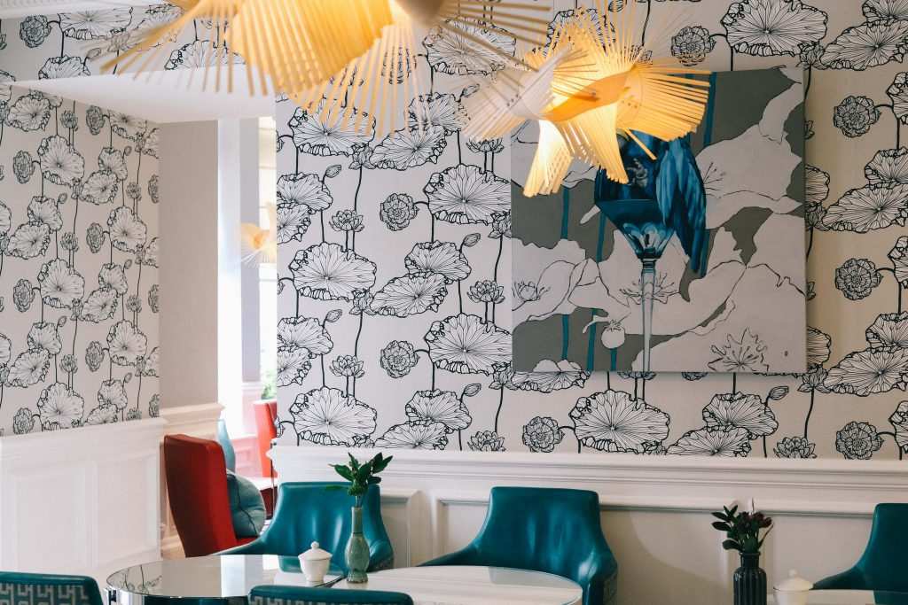 The room where afternoon tea is served at The Ampersand Hotel, London
