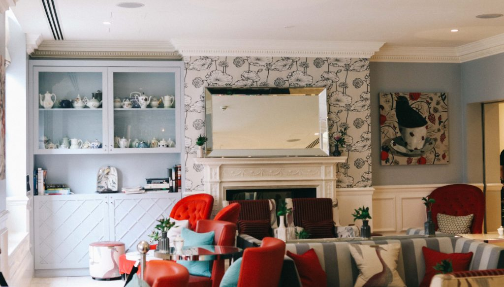 The dining room where afternoon tea is served at The Ampersand Hotel, London
