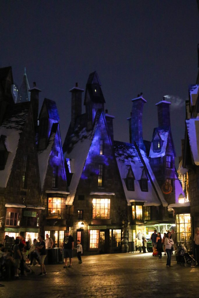 Diagon Alley at night, in the Wizarding World of Harry Potter, Universal Studios, Florida