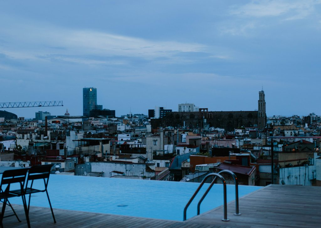 The rooftop swimming pool found at Hotel Grand Central in Barcelona. Taken at twilight.