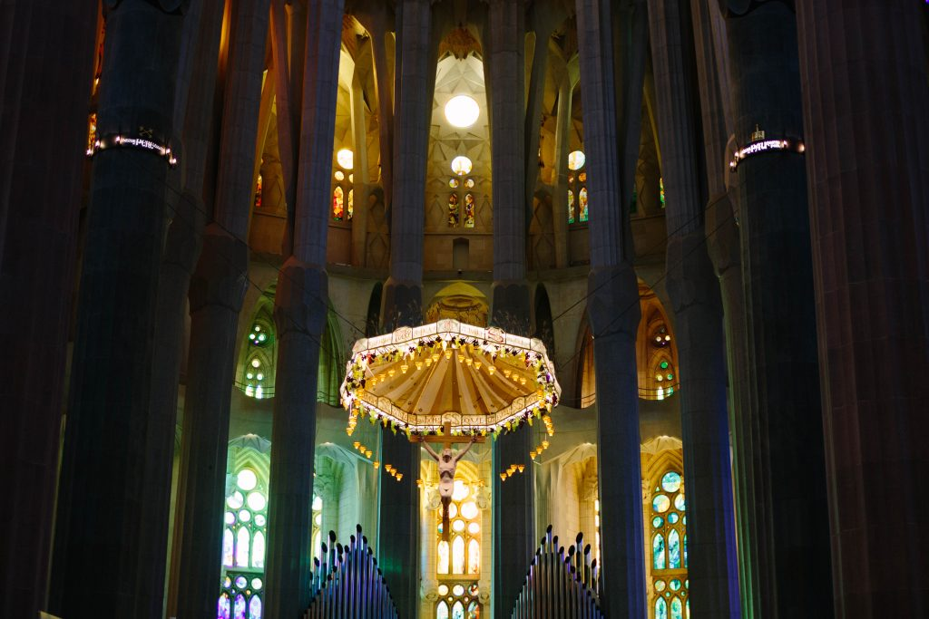The interior of Sagrada Familia cathedral in Barcelona.