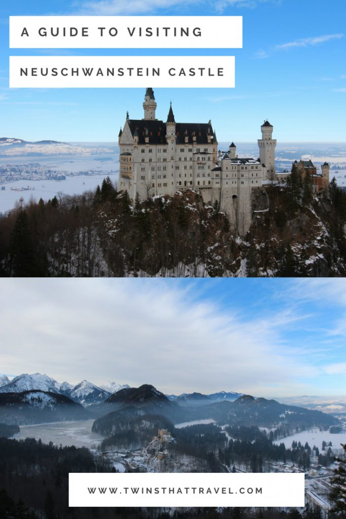 Two photographs of Neuschwanstein Castle in the snow. Text overlay reads 'A guide to visiting Neuschwanstein Castle' by 'Twins That Travel'.