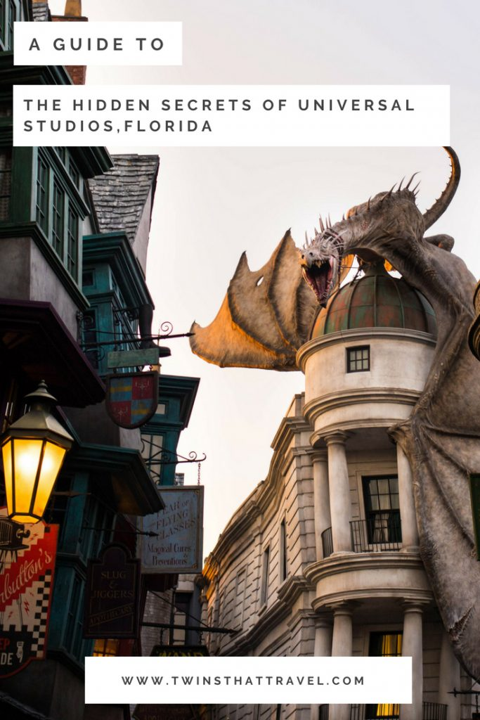 Diagon Alley at the Wizarding World of Harry Potter. Text overlay reads'a guide to the secrets of Universal Studios, Florida'