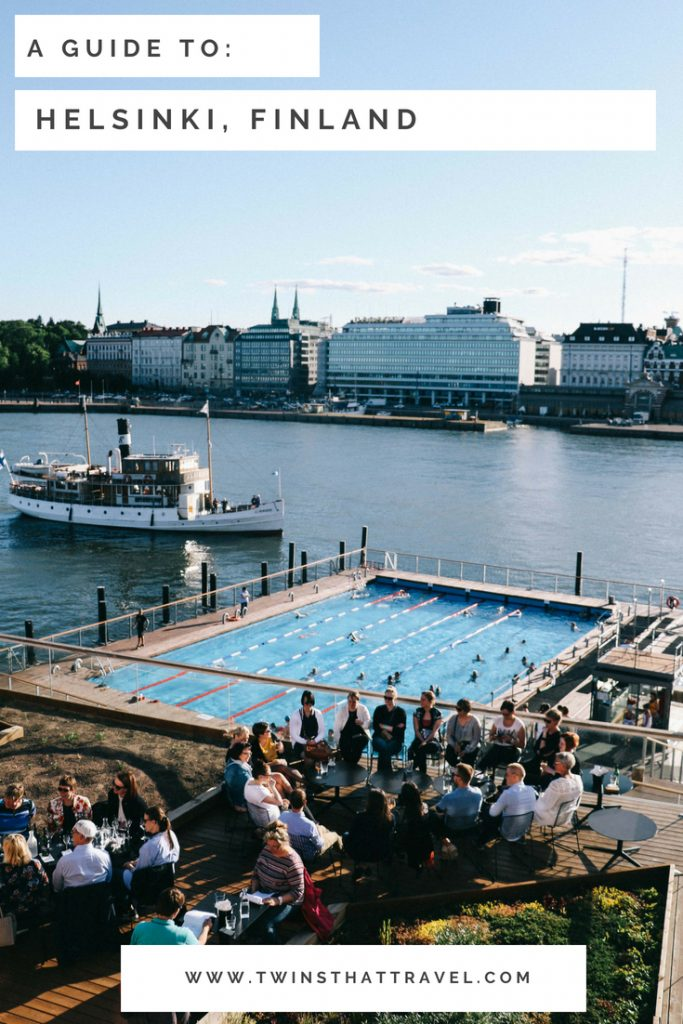 The Allas Sea Pool in Helsinki. Text overlay reads 'A guide to Helsinki, Finland' by 'Twins That Travel'.